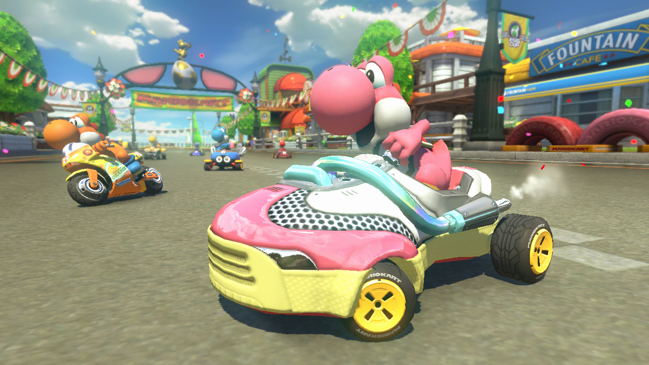le yoshi circuit pr sent dans le dlc zelda de mario kart 8. Black Bedroom Furniture Sets. Home Design Ideas